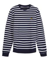 Breton Stripe Sweatshirt in White and Navy
