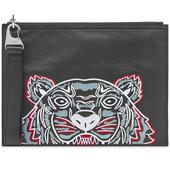 Kenzo Large Tiger Leather Pouch in Black