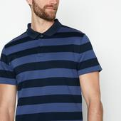 Blue Breton Stripe Cotton Polo Shirt in Navy and Blue