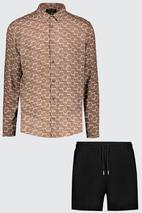 Long Sleeve Printed Shirt & Short Set In Viscose in Neutral and Black