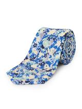 Silk Linen Painted Floral Tie in Multicoloured
