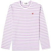 Comme des Garcons Play Little Red Heart Long Sleeve Stripe Tee in Purple and White
