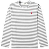 Comme des Garcons Play Little Red Heart Long Sleeve Stripe Tee in White and Grey