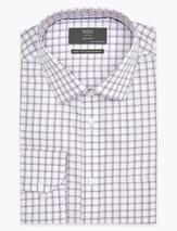 Regular Fit Pure Cotton Check Shirt in Purple
