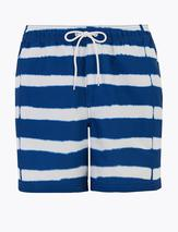 Quick Dry Tie Dye Stripe Swim Shorts in White and Blue