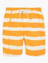 Quick Dry Tie Dye Stripe Swim Shorts in Yellow and White