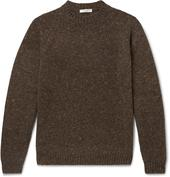 Ezra Mélange Camel Hair-Blend Sweater in Brown