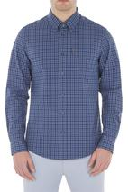 Long Sleeve Blue Gingham Shirt in Blue