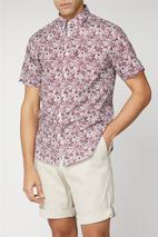 Short Sleeve Floral Print Shirt in Red