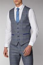 Grey and Blue Check Waistcoat in Grey