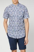 Short Sleeve Floral Print Shirt in Blue