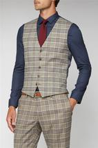 Oatmeal Heritage Check Waistcoat in Neutral