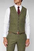 Green Heritage Check Tailored Fit Waistcoat in Green