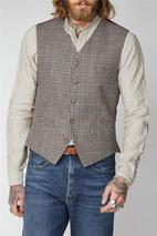 Fawn Black And Red Check Waistcoat in Multicoloured