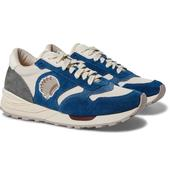Roland Leather-Trimmed Suede and Mesh Sneakers in Neutral and Navy