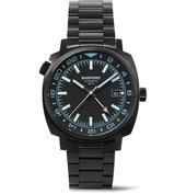 GMT Automatic 40mm Brushed Stainless Steel Watch in Black
