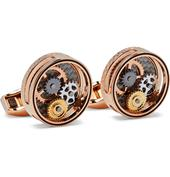 Gear Rose Gold-Plated Cufflinks in Metallic
