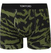 Zebra-Print Stretch-Cotton Boxer Briefs in Green and Black