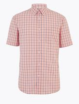 Laundered Cotton Regular Fit Checked Shirt in Pink