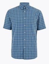 Laundered Cotton Regular Fit Checked Shirt in Blue