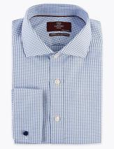 Regular Fit Pure Cotton Check Shirt in Blue