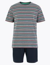 Pure Cotton Striped Pyjama Short set in Multicoloured and Navy