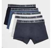 Mens River Island Blue RI metallic waistband trunks 5 pack in Black, White, Grey, Navy and Blue