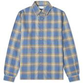 John Elliott Sly Cotton Straight Hem Shirt in Blue
