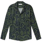 Camp-Collar Printed Cotton Pyjama Shirt in Green and Navy
