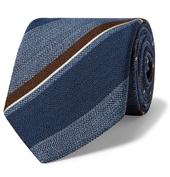 8cm Striped Silk and Wool-Blend Tie in Blue