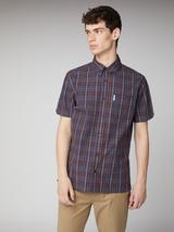 Dark Navy Archive Carnaby Shirt in Brown and Navy