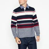 Blue Striped Cotton Rugby Top in Multicoloured