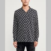 Long-Sleeve Camp Collar Button-Up Shirt in