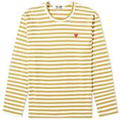 Comme des Garcons Play Little Red Heart Long Sleeve Stripe Tee in Yellow and White