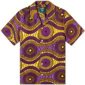 Gitman Vintage Hand Print Vacation Shirt in Yellow and Purple