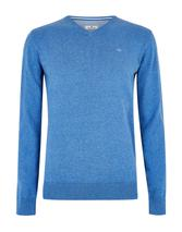 Basic V Neck Jumper in Blue
