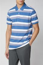 Striped Polo in White and Blue