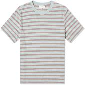 Save Khaki Vintage Stripe Crew Tee in Blue