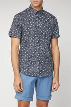 Short Sleeve Floral Print Shirt in Navy