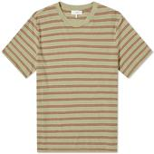 Save Khaki Vintage Stripe Crew Tee in Red and Green