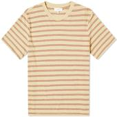 Save Khaki Vintage Stripe Crew Tee in Red and Neutral