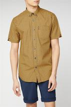 Short Sleeve Gingham Shirt in Yellow and Navy