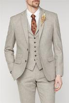 Sand Donegal Tailored Fit Suit Jacket in Neutral