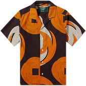 Gitman Vintage Multi Image Vacation Shirt in Orange and Brown