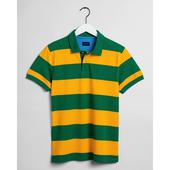 Contrast Barstripe Piqué Polo Shirt in Yellow and Green