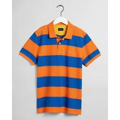 Contrast Barstripe Piqué Polo Shirt in Orange and Blue