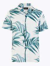 Pure Cotton Revere Palm Print Shirt in White and Blue