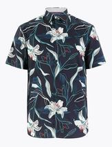 Pure Cotton Floral Shirt in Multicoloured