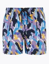 Quick Dry Abstract Print Swim Shorts in Multicoloured