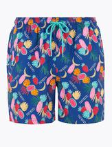 Quick Dry Tropical Print Swim Shorts in Multicoloured
